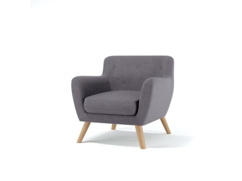 Fauteuil scandi fauteuil scandinave en tissu chiné - gris anthracite - l 79 x p 82 cm