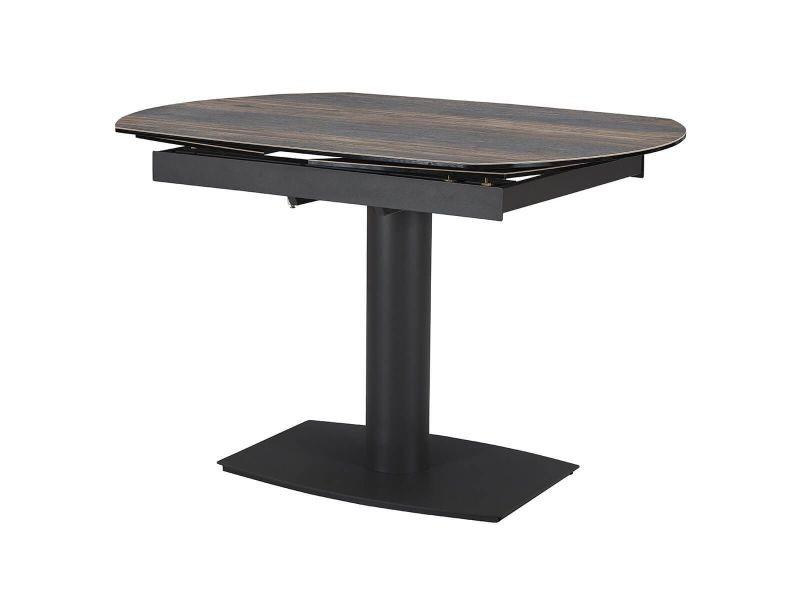 Pikam - table de repas allongeable céramique bois sombre
