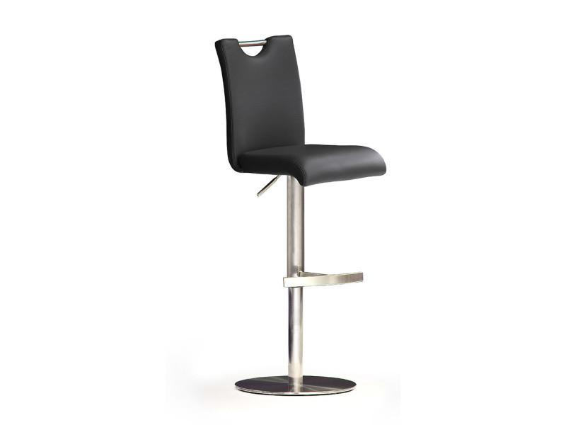 Tabouret de bar en cuir socle acier brossé, rotation 360° coloris noir - dim : h91-116 x 42 x 50 cm -pegane-