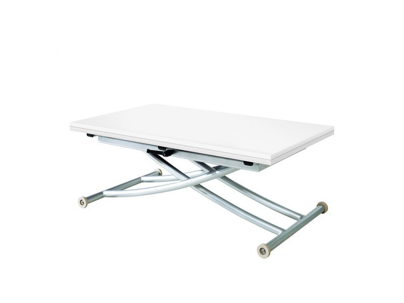 Table basse relevable extensible first blanc laqu conforama for Conforama table basse relevable