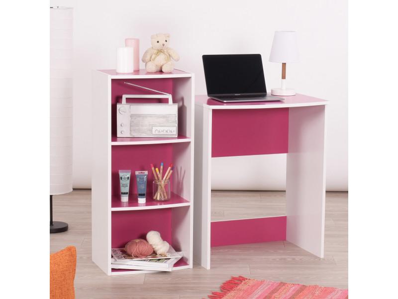 Ensemble de bureau et étagère de rangement rose & blanc