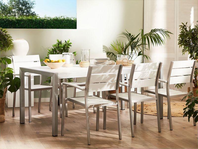 Chaise de jardin en aluminium et bois synthétique blanc vernio 262259