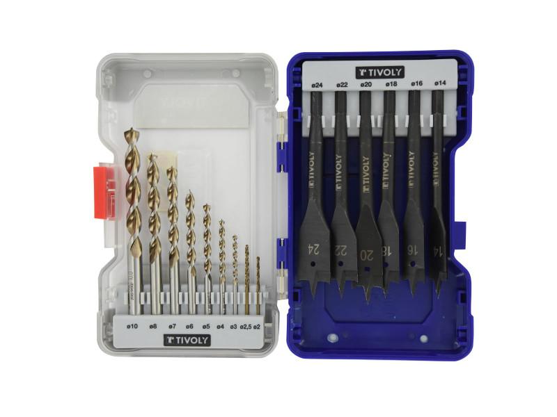 Coffret ranger 15 pièces bois tivoly forets bois ø2-2,5-3-4-5-6-7-8-10 mm + mèches plates ø14-16-18-20-22-24mm