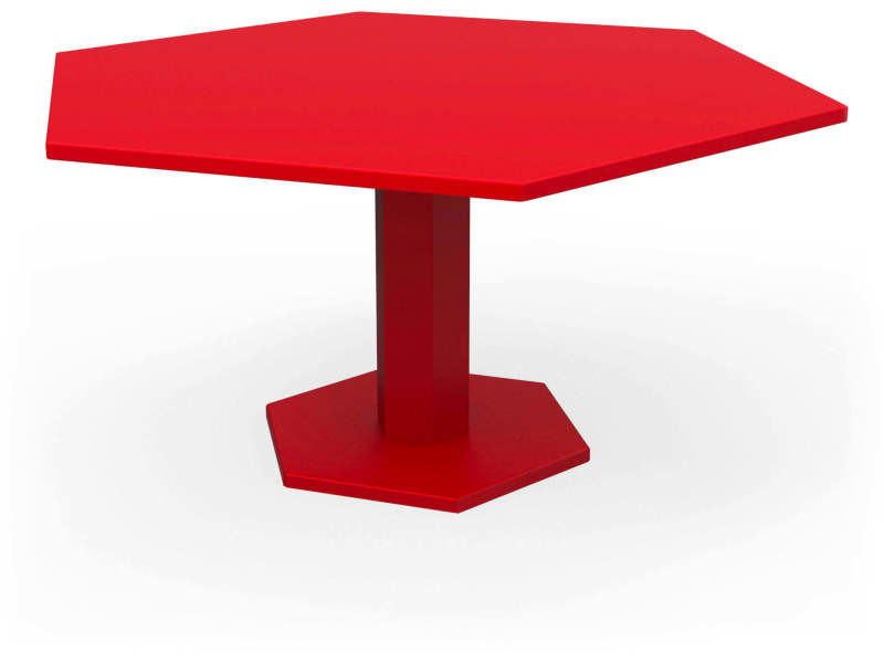 Tables hexagone rouge coquelicot Ta_HEX_hex160_h75_Coq