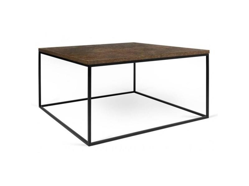 Table basse carrée gleam 50 plateau design rustique structure laquée noir mat 20100865041