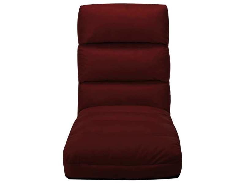 Vidaxl chaise pliable de sol rouge bordeaux similicuir 325249