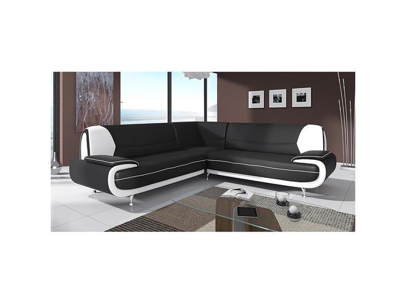 Muza - canapé d'angle design en simili cuir noir et blanc