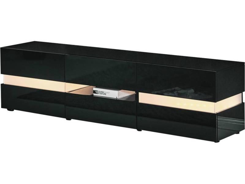 Meuble Tv Led Vida 177 X 39 X 45 Cm Noir Laque Vente De Habitat Et Jardin Conforama