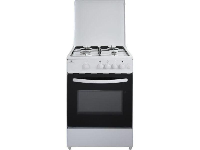Continental edison cuisiniere gaz, four gaz 65l, eclairage,largeur 60 x hauteur 85 cm, blanc CECG6060W9