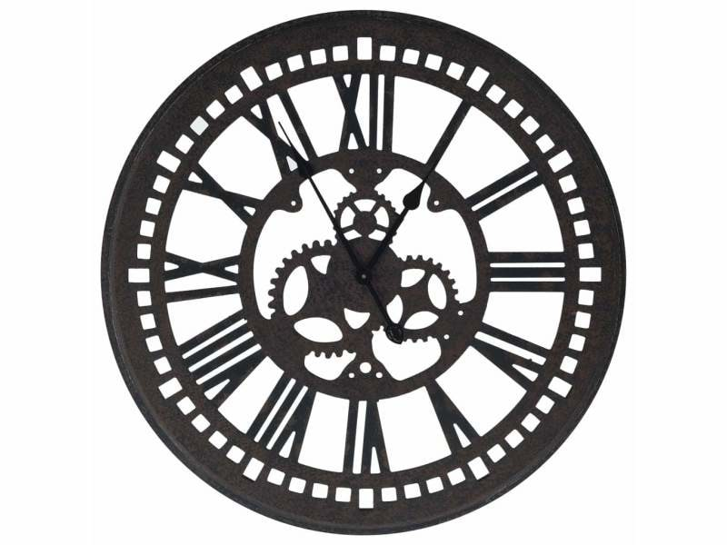Vidaxl horloge murale noir 80 cm mdf 321465