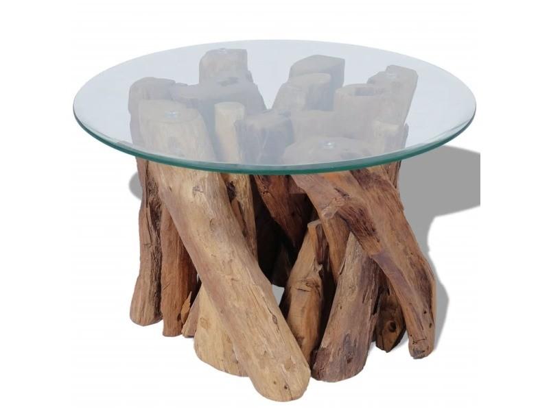 Vidaxl table basse bois flottant de teck massif 60 cm 243473