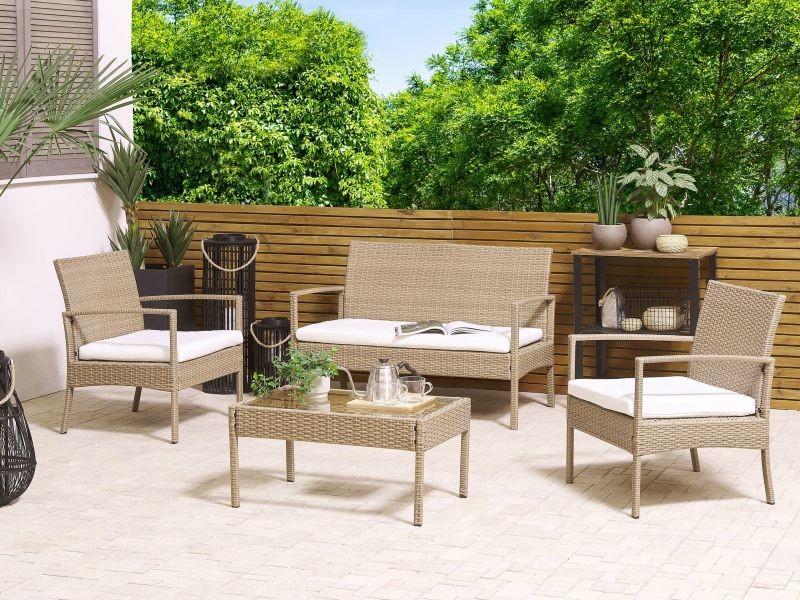 Salon de jardin 4 places en rotin marron clair avec coussins blanc cassé marsala 262096