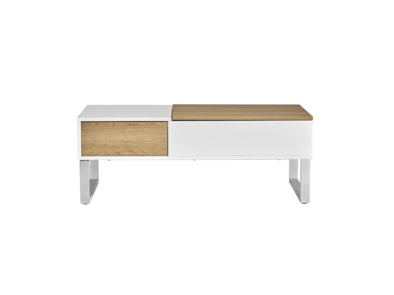 Table basse relevable blanc/bois - pierre - l 110 x l 60 x h 37 - neuf