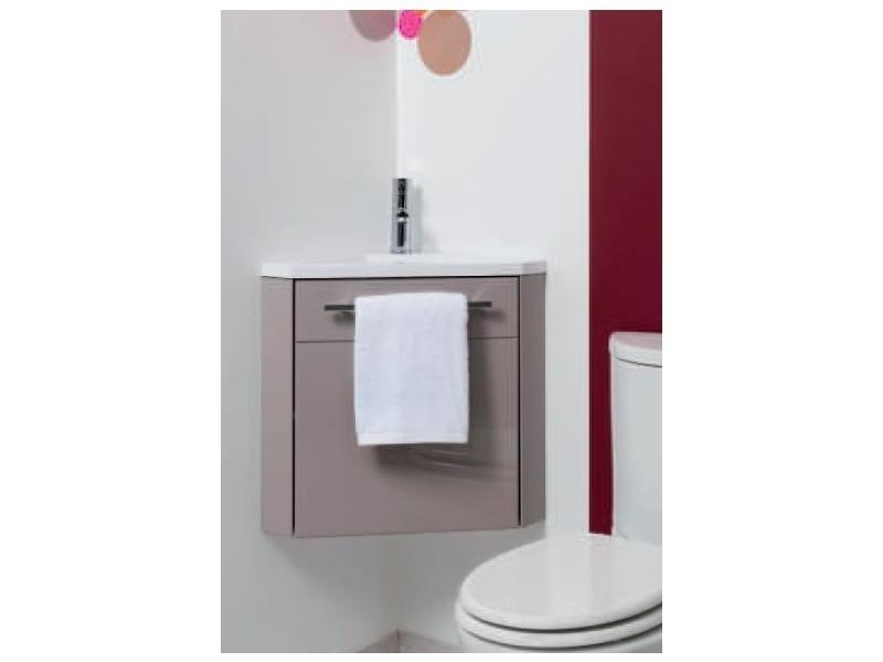 Aqua+ - meuble d\'angle lave-mains taupe à suspendre 40cm ...