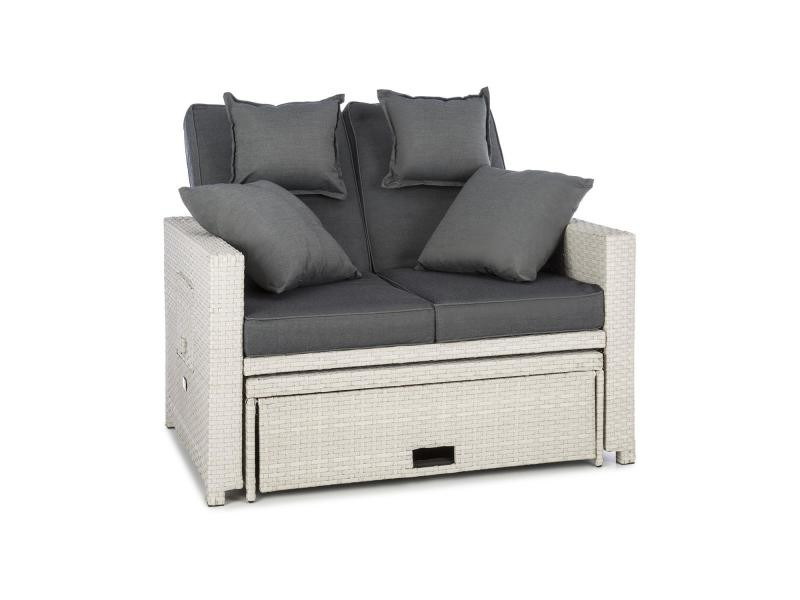Blumfeldt canapé lounge 2 places avec repose-pieds et tables pliantes - résine tressée poly rotin blanc