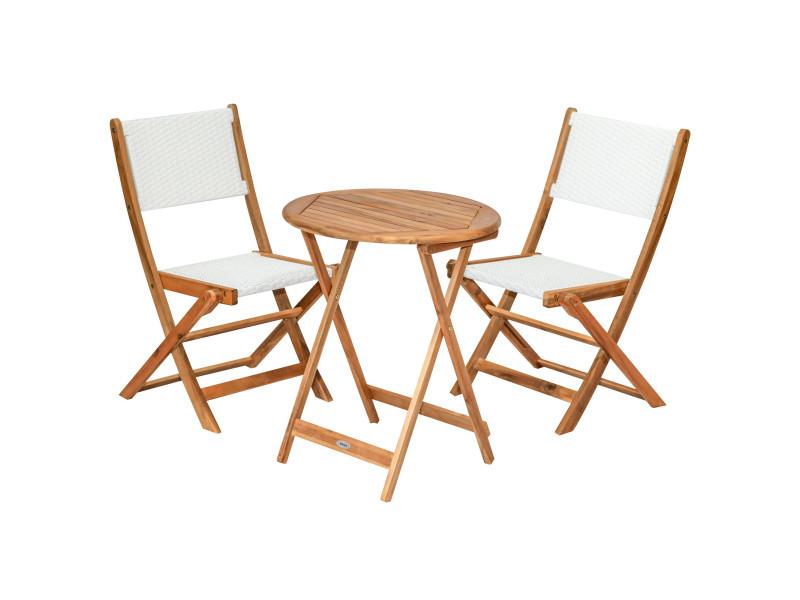 Ensemble bistro de jardin 3 pièces pliantes style colonial 2 chaises + table bois acacia pré-huilé résine tressée blanc