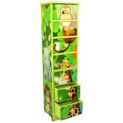 Commode enfant 7 tiroirs meubles bois jungle