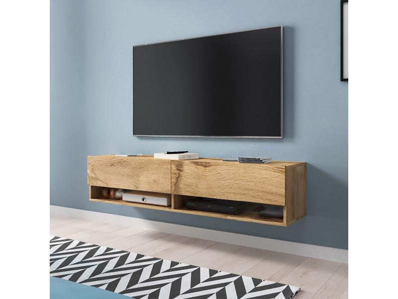 Meuble Tv Wander 140 Cm Effet Chêne Wotan Sans Led Design