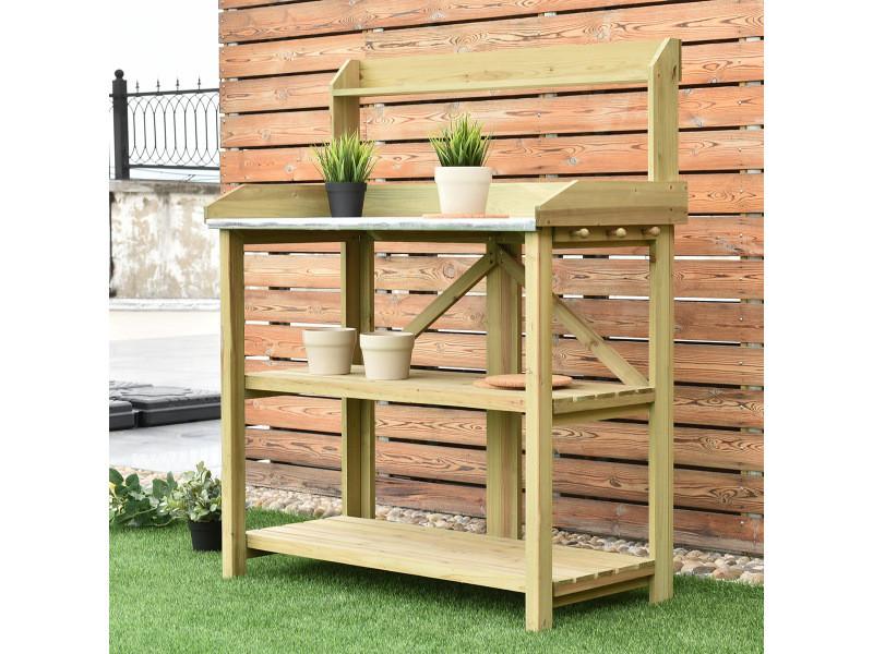 Giantex bac de jardinage en bois sur pied avec plateau en métal 2 etagères de rangement ouvertes 3 crochets de suspension latéraux