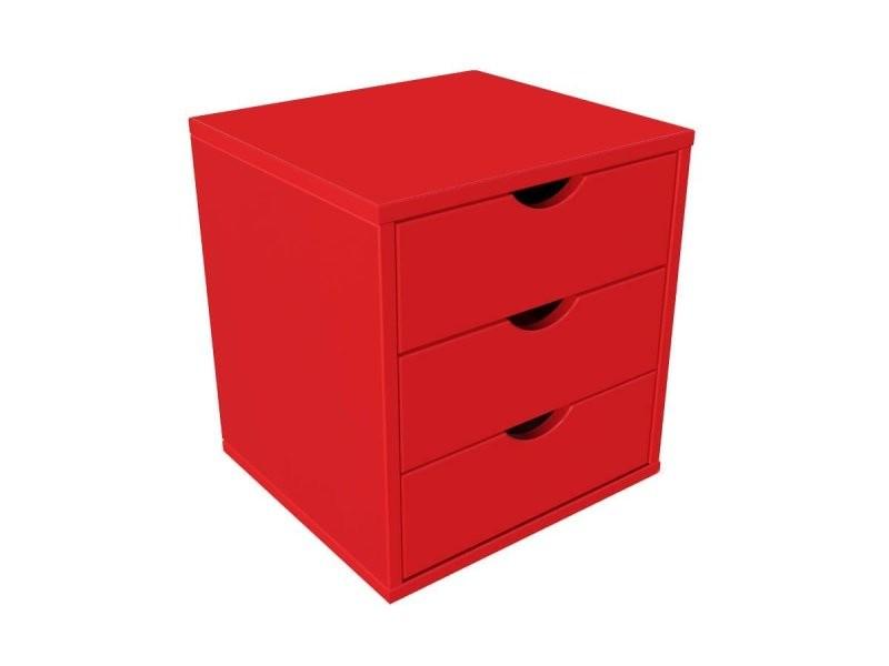 Bloc 3 tiroirs bois massif rouge BLOC3T-Red