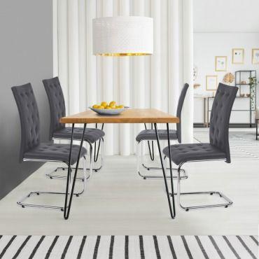Lot de 4 chaises mia capitonnées grises pour salle à ...
