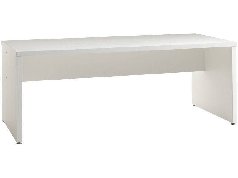 Bureau contemporain 200 cm coloris blanc p 12538 co faster vente de bureau conforama for Bureau 200 cm