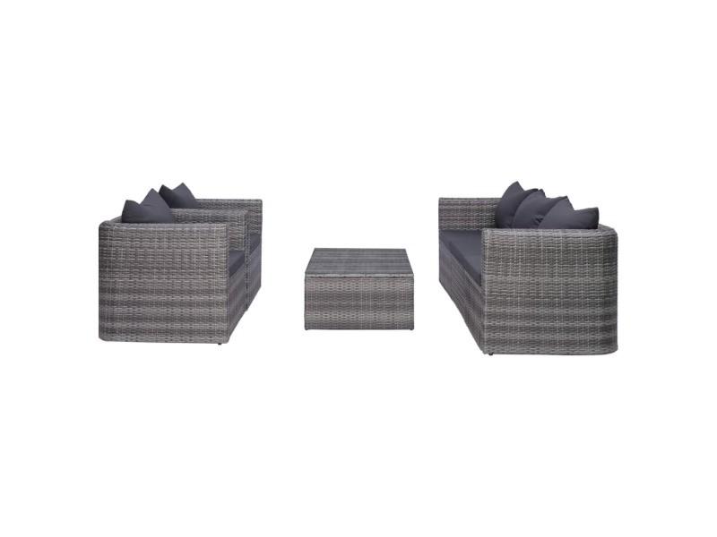 Icaverne - salons de jardin gamme meuble de jardin 6 pcs et coussins et oreillers résine tressée