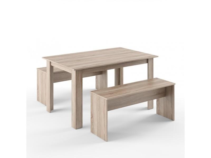 Table avec 2 bancs aspect chêne sonoma