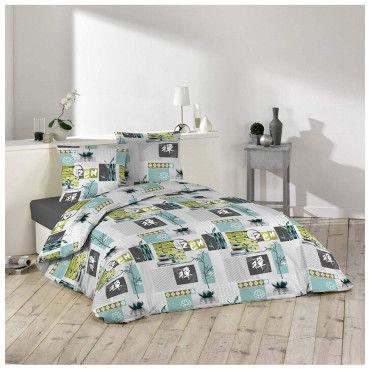 parure housse de couette 240 x 220 cm zanis bleu vente de parure de lit 1 personne conforama. Black Bedroom Furniture Sets. Home Design Ideas
