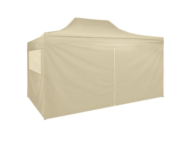 Admirable structures extérieures edition ramallah tente pliable avec 4 parois latéraux 3 x 4,5 m blanc crème