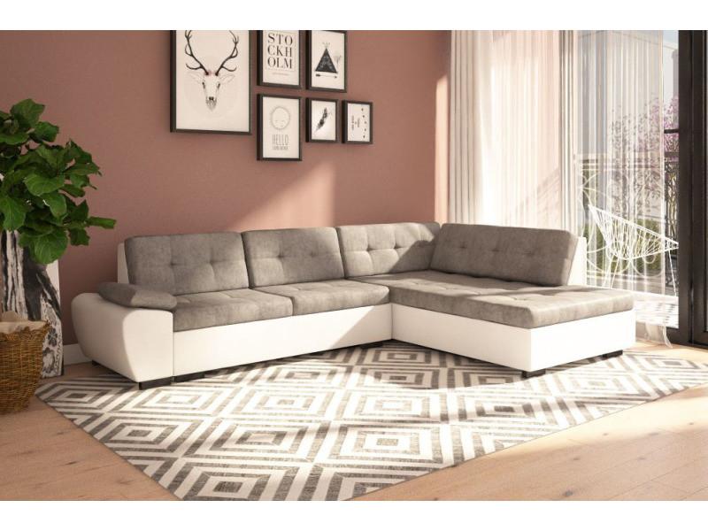 Canapé d'angle convertible gali en tissu gris et simili cuir blanc avec lit et couchage