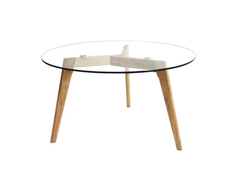 Verane - table basse ronde plateau verre