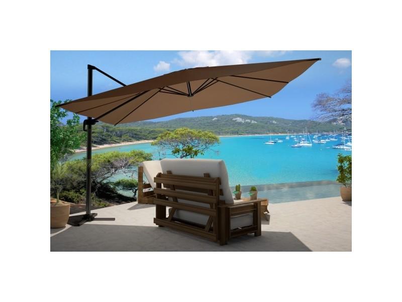 Cesare chocolat : parasol déporté, rectangulaire de 3x4m , rotatif à 360°