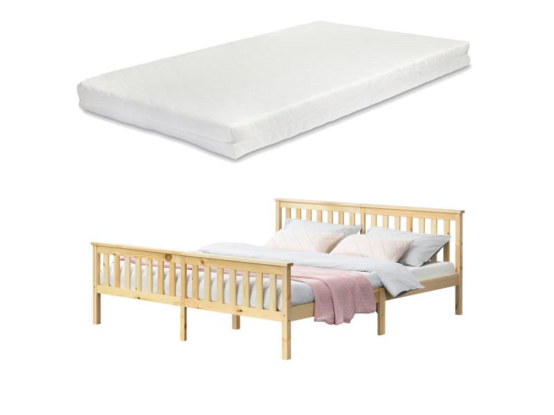 Cadre de lit design pour adultes en bois de pin à sommier à lattes lit double avec matelas à mousse à froid capacité de charge 200 kg 180 x 200 cm bois naturel [en.casa]