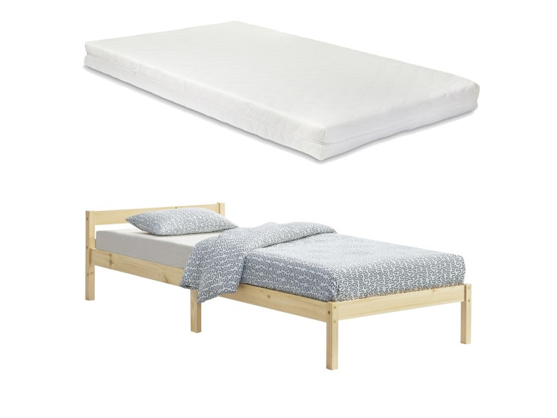 Cadre de lit solide stylé à sommier à lattes lit simple design en pin et bois stratifié avec matelas à mousse à froid capacité de charge 100 kg 100 x 200 cm bois naturel [en.casa] [neu.haus]
