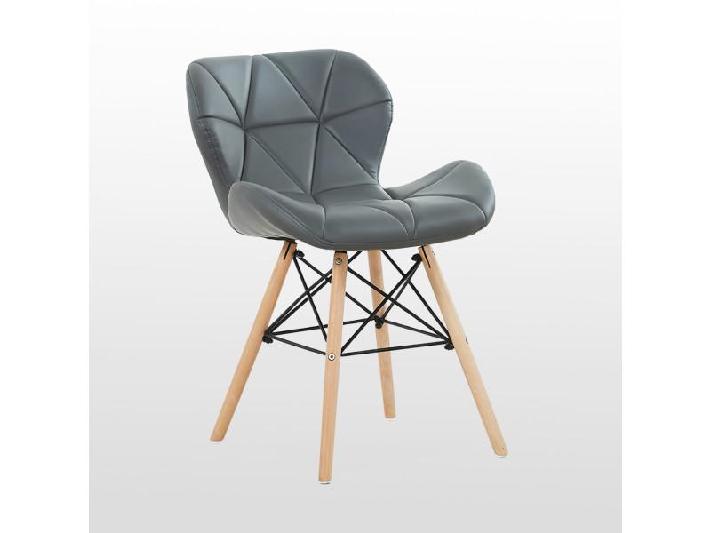 Chaise design en simili cuir grise - cecilia eiffel