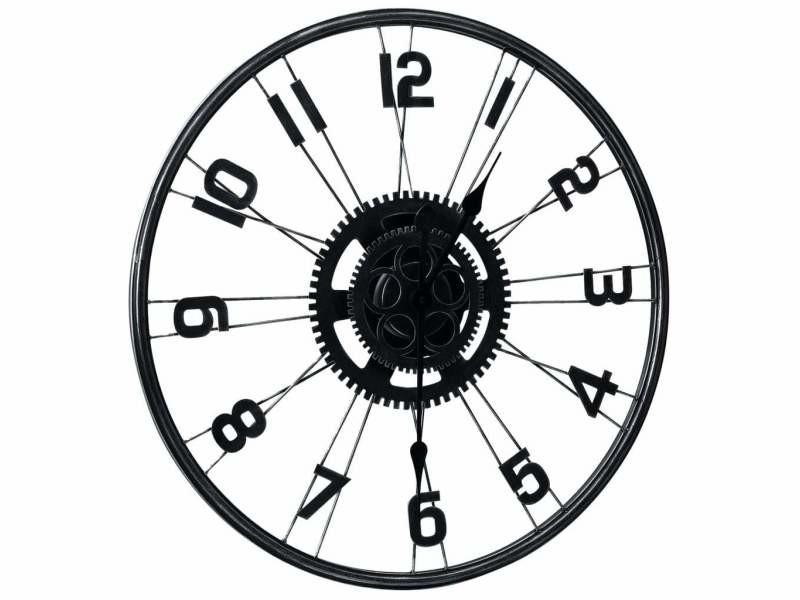 Horloge murale noir 60 cm métal dec022231