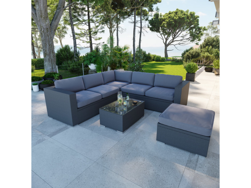 Salon de jardin en résine tressée fonctionnel avec coffres de rangement intégrés - noir gris - farenza