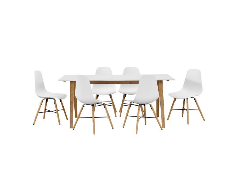 En Casa Table A Manger Blanc Avec 6 Chaises Blanc 180x80 Table De