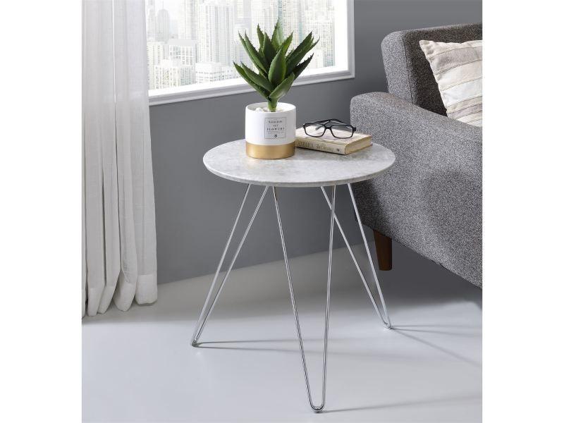 Table d appoint benno table basse ronde bout de canapé design vintage  industriel avec pieds épingle en métal chromé ... 2af439f48a6b