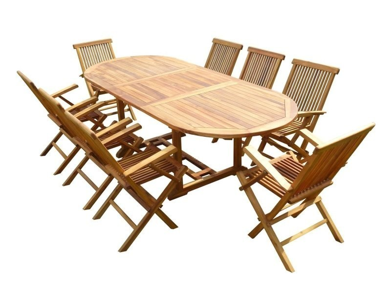 Ensemble de jardin en teck huilé munggi 8 fauteuils pliants jumak