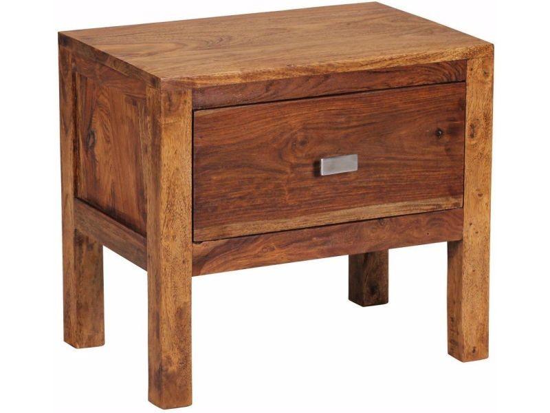 table de chevet en bois massif de sheesham avec tiroir 45 cm vente de comforium conforama. Black Bedroom Furniture Sets. Home Design Ideas