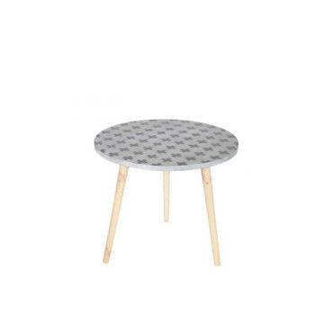 Table basse tripode imprim e grise denn couleur gris 365573 g vente de table basse conforama - Table grise conforama ...