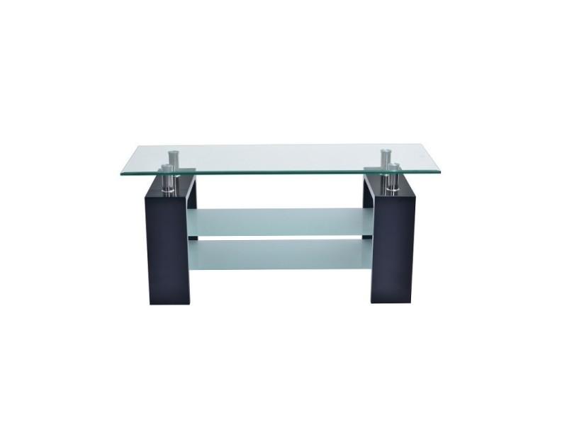 Table basse siena rectangulaire design plateau en verre et doubles sous-plateau en verre sablé, pieds coloris noir.