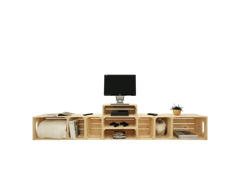 meuble tv modulable 9 niches de rangement vente de meuble tv conforama. Black Bedroom Furniture Sets. Home Design Ideas