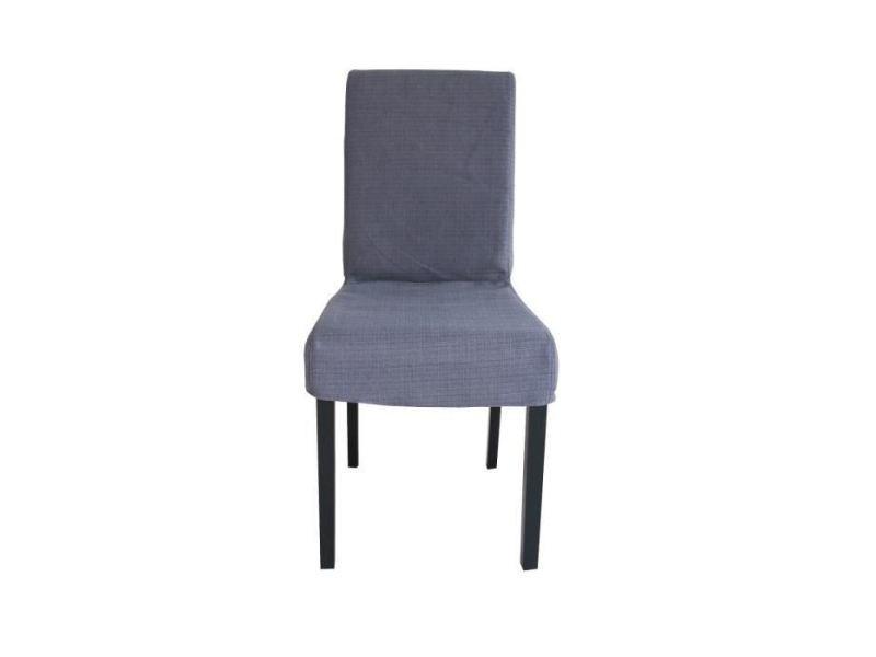 Chaise strip lot de 2 chaises de salle a manger déhoussables - tissu gris - contemporain - l 44 x p 53 cm