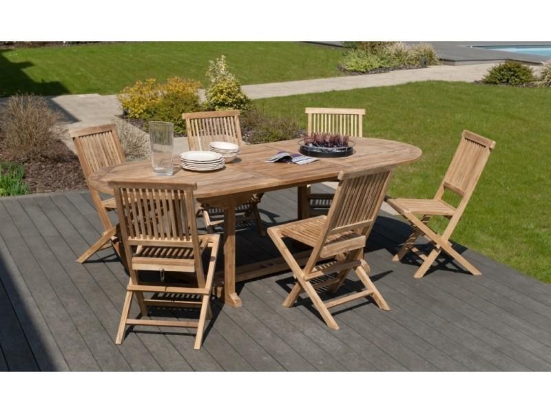 Salon De Jardin En Teck Avec 1 Table Extensible Ovale Et 6 Chaises