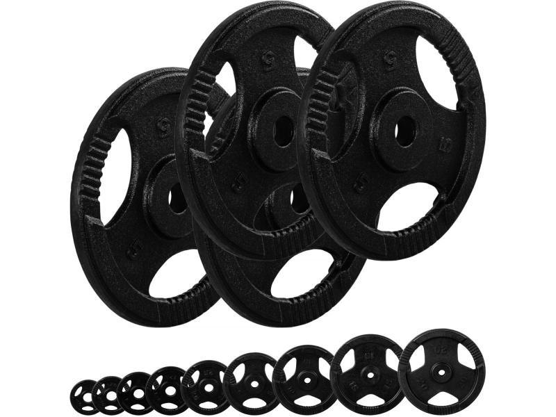 Movit® poids en fonte grip - lot 4x5 kg - diamètre d'alésage 31 mm – noir