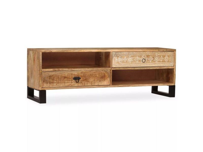 Meuble télé buffet tv télévision design pratique bois massif de manguier 120 cm helloshop26 2502170