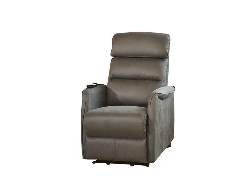 Fauteuil relax releveur électrique gris - softy - l 80 x l 90-165 x h 107-80 - neuf